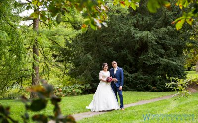 Hochzeitsporträts von Tanja und Romany im Botanischen Garten in Hohenheim